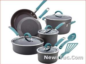 Hard Anodized Rachael Ray Cucina 12 Piece, Gray Nonstick Pots and Pans Cookware Set