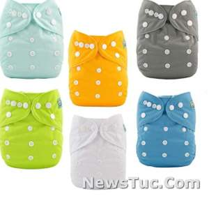 Washable Reusable 6 Pack with 12 Inserts ALVABABY Baby Cloth Diapers