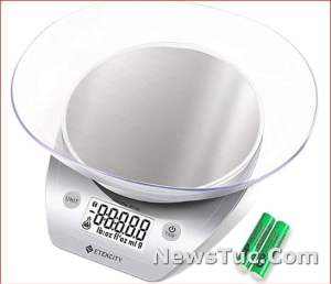 Silver Stainless Steel Etekcity Grams and Ounces Kitchen Bowl Digital Scale