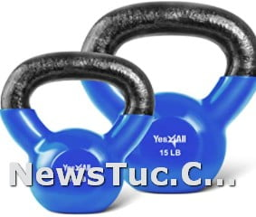 Strength Training Yes4All Vinyl Coated Solid Cast Iron Kettlebell Weights