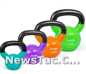 Multicolor Yes4All Vinyl Coated Solid Cast Iron Kettlebell Weights