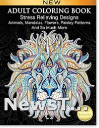 Stress Relieving Designs Animals Adult Coloring Book