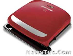 Red George Tough Coating Foreman 4-Serving Removable Plate Panini Press Grill