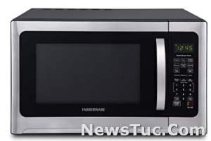 Brushed Stainless Steel Farberware Smart Sensor Cooking and LED Lighting, 1.2 Cu. Ft. Microwave Oven