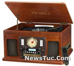 Victrola 8-in-1 Bluetooth Multimedia Center Record Player