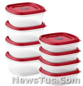 Red Set of 8, 16 Pieces Total Plastic Rubbermaid Easy Find Vented Lids Food Storage Containers
