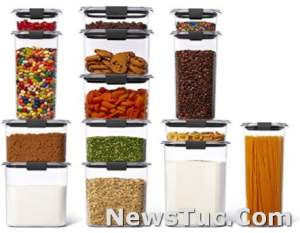 Set of 14 Containers with Lids Rubbermaid Brilliance Plastic Dishwasher Safe BPA-Free Food Storage containers