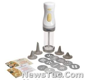 Battery-operated WILTON-Cookie Master Plus 12 aluminum disc designs Cookie Press