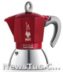 Stovetop Suitable for induction Bialetti New Aluminum Steel 4 Cups Red Coffee Maker Moka Pot