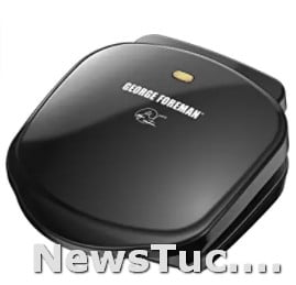 Black dishwasher-safe George Foreman 2-Serving Classic Plate Electric Indoor Panini PressGrill