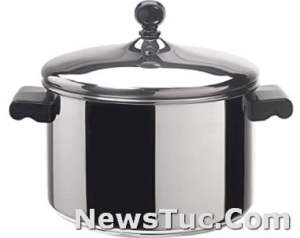 EVEN HEAT DESIGN Farberware Classic Stainless Steel 4-Quart Silver Covered Saucepot