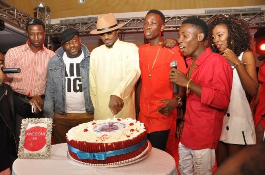 Segun Aderinokun, Oladokun Oye, Tuface Idibia, Jay Dreamz, Acetune and  Jitey Peterz at the Airtel One Mic All-Stars album launch and Tuface's 40th birthday celebration in Lagos on Friday