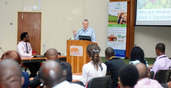 Director of HarvestPlus, Dr Howarth Bouis, delivering a lecture on biofortification at the Conference Centre, IITA, Ibadan recently