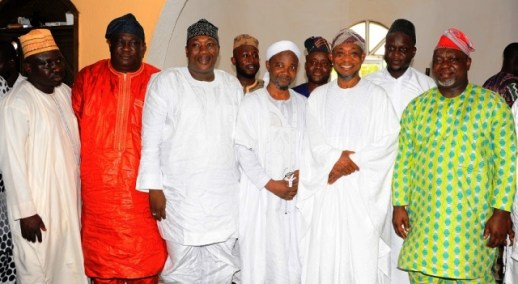 Governor State of Osun, Ogbeni Rauf Aregbesola (2nd right); Speaker, State of Osun House of Assembly, Honourable Najeem Salaam (3rd left); Deputy Speaker, Honourable Akintunde Adegboye (right); Chief Imam, Allahu Lateef Mosque, Alhaji Muhammad Yahaya (3rd right) and others, during a Special Jumat prayer for the country's Indpendence in Osogbo, on Friday
