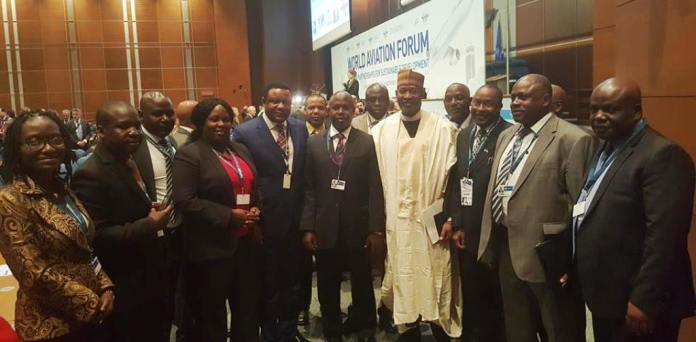 Senator Hadi Sirika, Minister of State, Aviation (middle) flanked by Nigeria delegates to the on-going ICAO 2015 World Aviation Forum in Canada