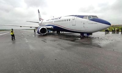 Air Peace aircraft makes hard landing at Lagos Airport