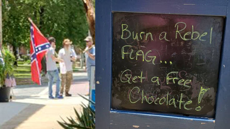 'Burn a rebel flag, get a free chocolate': NC chocolate shop sells out after posting controversial sign