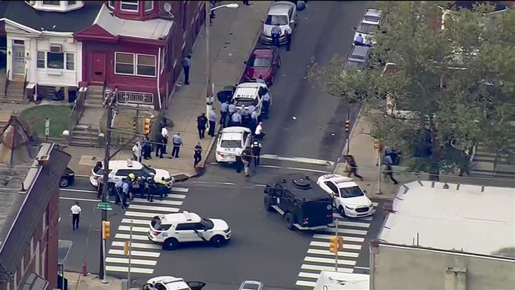 Police responding to a shooting in Philadelphia where several officers have been injured