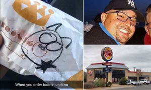 Police officer's fast-food order delivered with pig drawing on wrapper