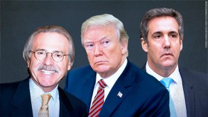 National Enquirer company chief David Pecker talking with New York prosecutors