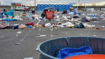 Beach chairs, blankets and trash. Massive mess left after Trump's Wildwood rally.