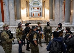 Gun Nuts in camo and masks protest Kentucky's Red Flag laws