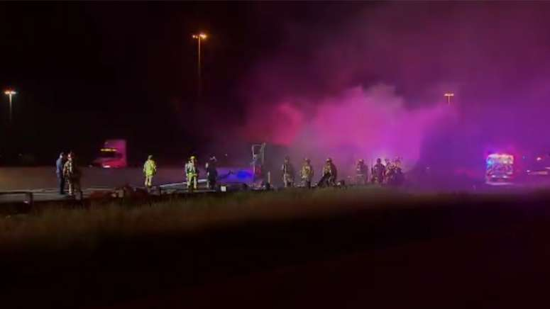 Truck hauling toilet paper catches fire on Texas interstate