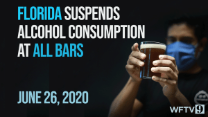 Florida Reports 9,000 New Cases, Suspends Alcohol at Bars