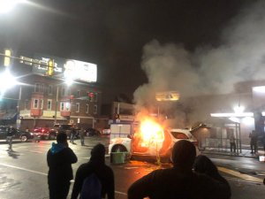 Protests outside a West Philadelphia precinct following officer involved shooting