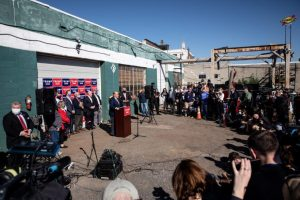 Team Trump Holds News Conference Outside Drab Landscaping Firm, Next to Adult Book Store