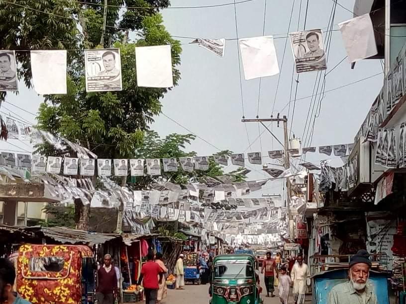 কমলগঞ্জ পৌরসভা নির্বাচন পোস্টারে ছেয়ে গেছে অলিগলি