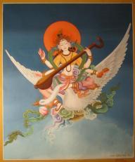 Saraswati reitet auf ihrem Schwan