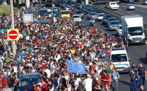 Migrants flocking to Europe.