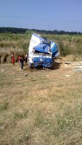 The car involved in an accident.