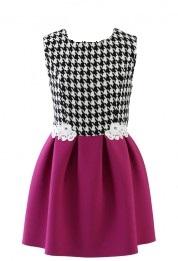 houndstooth skater dress in hot pink 2