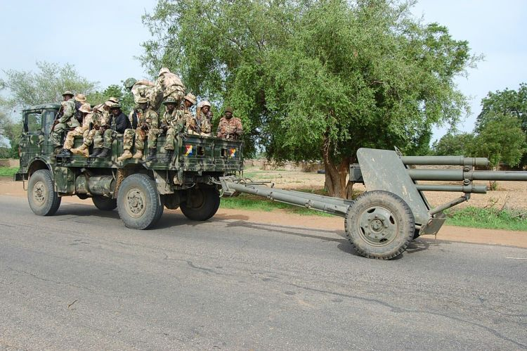 Troops and equipment advancing to Damboa