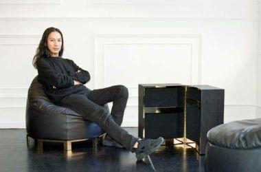 Alex Wang models his Furniture designs.