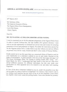OPEN LETTER TO THE INSPECTOR GENERAL OF POLICE PAGE 1(1)