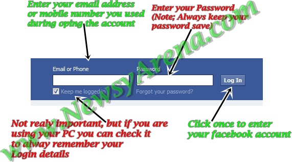 how to enter facebook accout