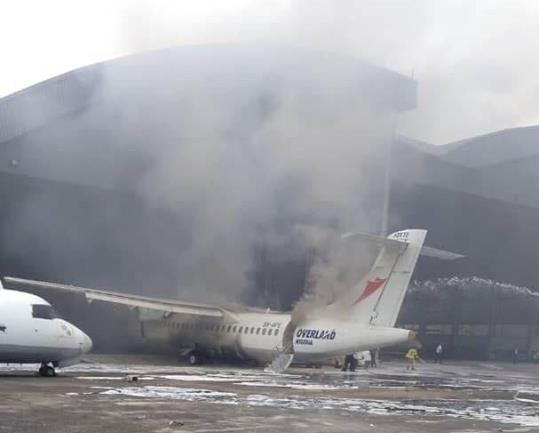 BREAKING: Overland aircraft catches fire (PHOTOS + VIDEO)
