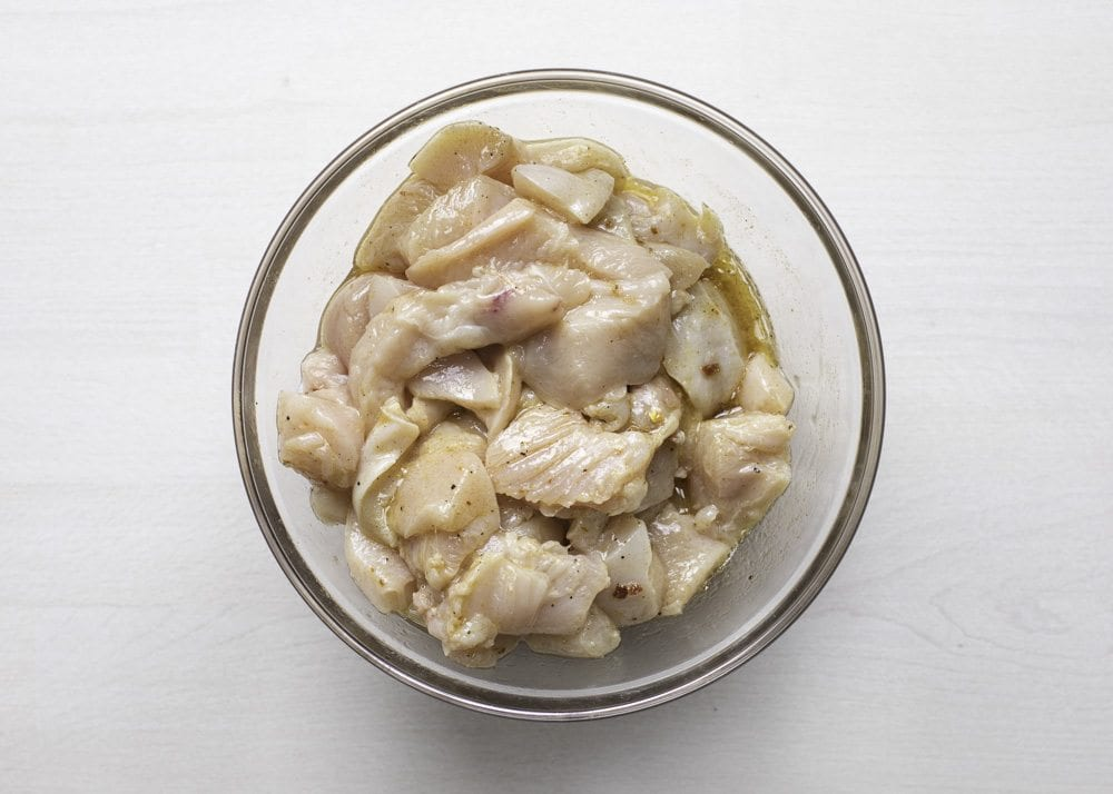 Add chicken to marinade. Toss to coat. Marinate for 2 hours to overnight in the fridge.