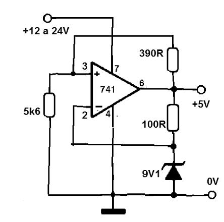 Estabilizador de 5 V con el 741 (CIR812S)