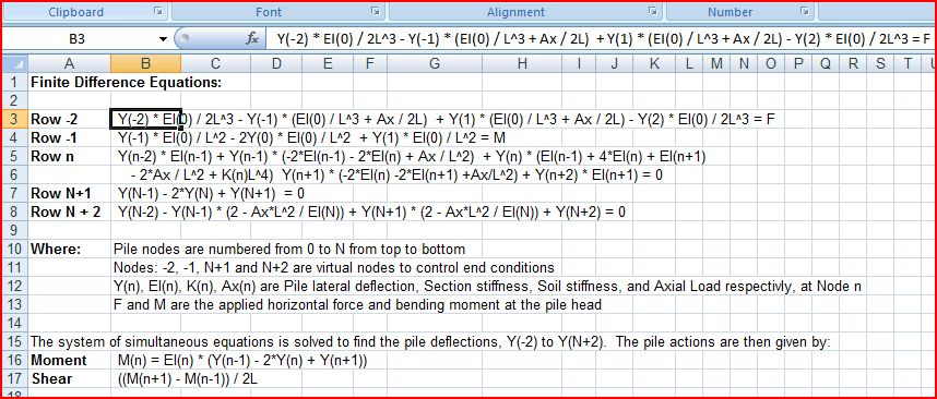 LPile Finite Difference Equations