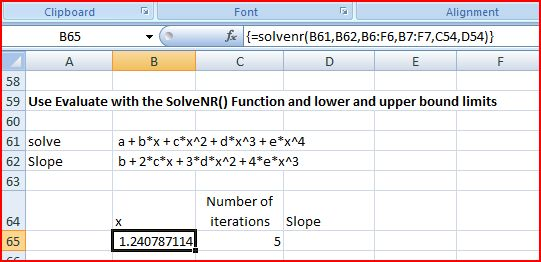 Solve equations with the SolveNR() UDF