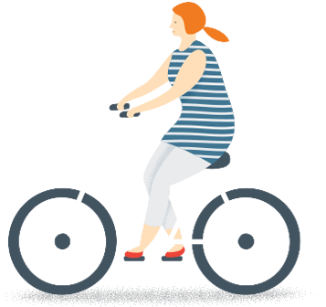 Orange haired woman on bicycle