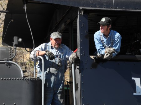 Steam locomotive engineers on the Virginia and Truckee Railroad