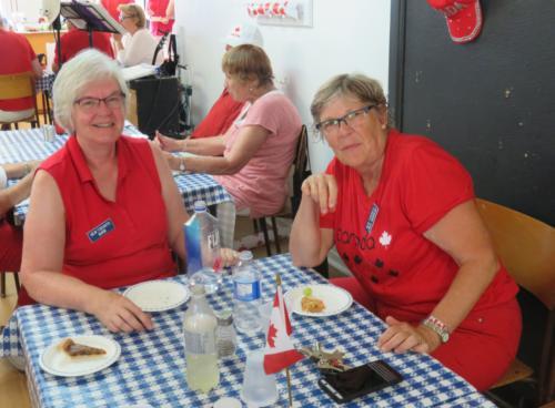 Barb and Linda at table