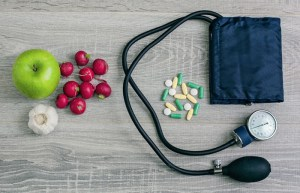 Blood pressure cuff , pills, and food