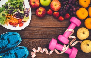 exercise equipment and healthy foods