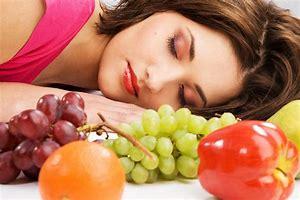 Laying down Sleeping Next to Fruit